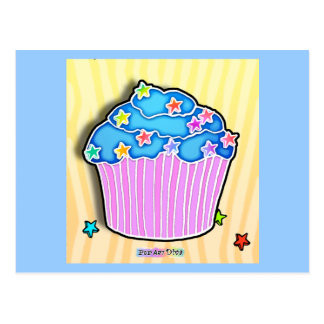 Turquoise Blueberry Frosted CUPCAKE POSTCARD