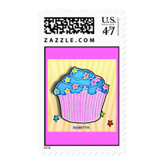 Turquoise Blueberry Frosted Pink CUPCAKE POSTAGE