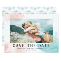 Turquoise & Blush Watercolor - Photo Save the Date Card