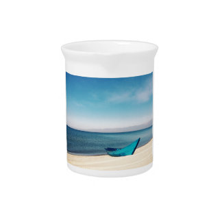 Turquoise Boat On The Beach Pitcher