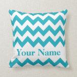 Turquoise Bold Chevron with monogram Throw Pillows