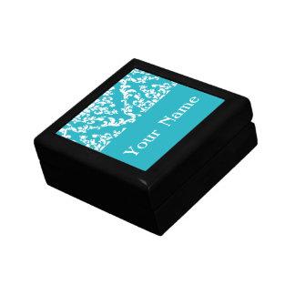 Turquoise Bold Damask w/ name @ Emporiomoffa Jewelry Box