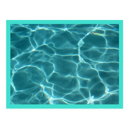 Turquoise Border Swimming Pool Post Card