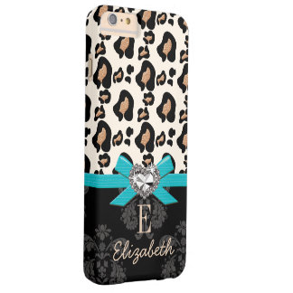 Turquoise Bow Heart Shaped Faux Bling Leopard Barely There iPhone 6 Plus Case