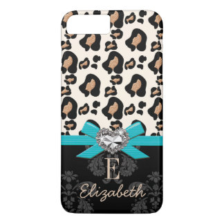 Turquoise Bow Heart Shaped Faux Bling Leopard iPhone 8 Plus/7 Plus Case