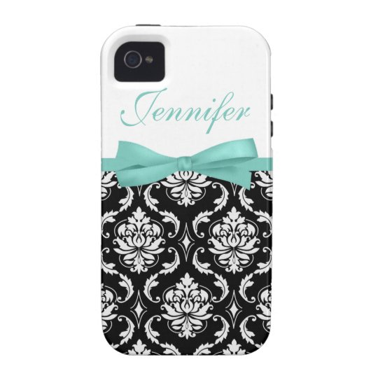 Turquoise Bow with Damask and Name iPhone Case