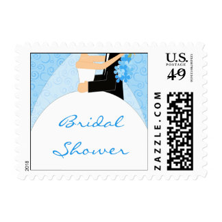 Turquoise Bridal Shower postage stamps