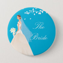 Turquoise Bride Bridal Party  Button