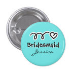 Turquoise bridesmaid button personalized with name