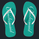 """Turquoise bridesmaid flip flops for beach wedding<br><div class=""""desc"""">Cute aqua turquoise blue and white wedding flip flops for bridesmaids. Custom background and strap color personalizable with name or monogram initials optional. Modern his and hers wedge sandals with stylish script calligraphy typography. Elegant party favor for nautical and beach themed wedding, marriage, bridal shower, engagement, anniversary, bbq, bachelorette, bachelor,...</div>"""