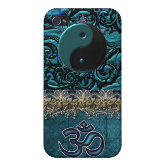 Turquoise Brocade with Symbols and Metallic Trim Cases For iPhone 4