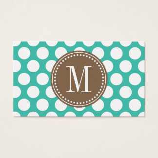 Turquoise & Brown | Big Polka Dots Monogrammed Business Card