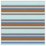 [ Thumbnail: Turquoise, Brown & Blue Pattern of Stripes Fabric ]