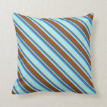 [ Thumbnail: Turquoise, Brown & Blue Pattern of Stripes Pillow ]