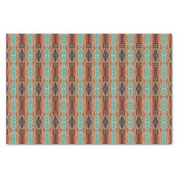 DeskDrawer Turquoise Brown Burnt Orange Mosaic Pattern Tissue Paper