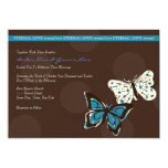 Turquoise & Brown Butterfly Wedding Invitation