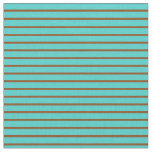[ Thumbnail: Turquoise & Brown Colored Lined/Striped Pattern Fabric ]