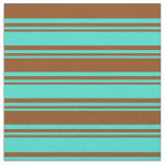 [ Thumbnail: Turquoise & Brown Colored Stripes Fabric ]