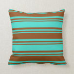 [ Thumbnail: Turquoise & Brown Colored Stripes Throw Pillow ]