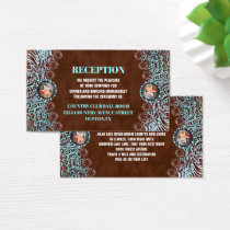 turquoise brown country western wedding direction business card