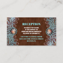 turquoise brown country western wedding direction enclosure card