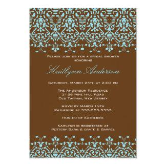Turquoise & Brown Damask Bridal Shower Invitation