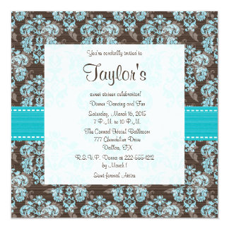"""Turquoise Brown Damask Sweet Sixteen Invitations 5.25"""" Square Invitation Card"""
