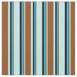 [ Thumbnail: Turquoise, Brown, Deep Sky Blue, and Black Lines Fabric ]