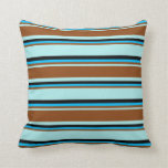 [ Thumbnail: Turquoise, Brown, Deep Sky Blue, and Black Lines Throw Pillow ]