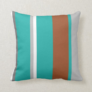 Turquoise, Brown Grey and white stripe pillow
