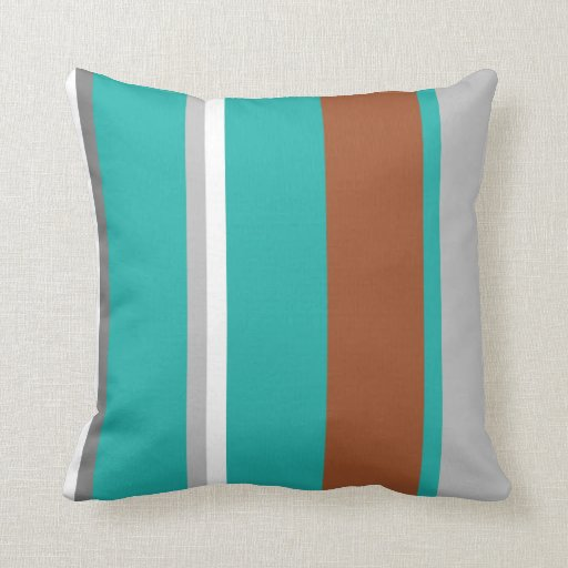 turquoise brown grey and white stripe pillow zazzle. Black Bedroom Furniture Sets. Home Design Ideas
