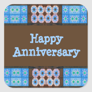 Turquoise Brown Happy Anniversary Square Stickers