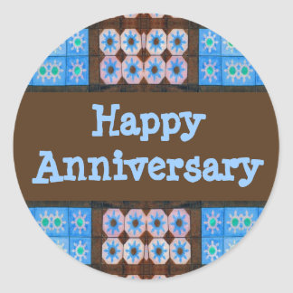 Turquoise Brown Happy Anniversary Classic Round Sticker