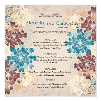 Turquoise Brown & Ivory Flowers Retro Wedding Menu Card