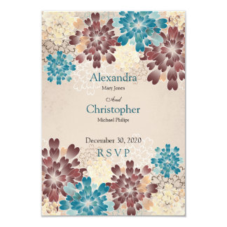 Turquoise Brown & Ivory Flowers Retro Wedding RSVP Card