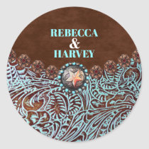 turquoise brown leather country western wedding classic round sticker