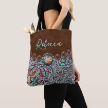 turquoise brown leather cowboy country western tote bag