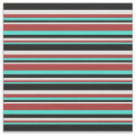 [ Thumbnail: Turquoise, Brown, Light Cyan, and Black Stripes Fabric ]