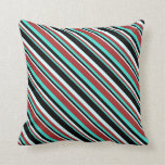 [ Thumbnail: Turquoise, Brown, Light Cyan, and Black Stripes Throw Pillow ]