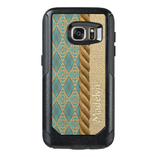Turquoise Brown Mosaic Faux Burlap Texture Pattern OtterBox Samsung Galaxy S7 Case