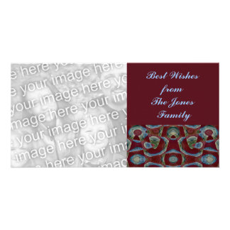 turquoise brown personalized photo card