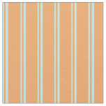 [ Thumbnail: Turquoise & Brown Striped Pattern Fabric ]