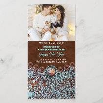 turquoise brown western country Christmas photo Holiday Card