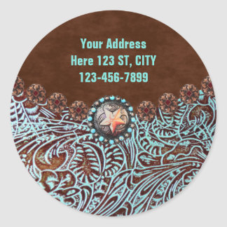 turquoise brown western country tooled leather classic round sticker