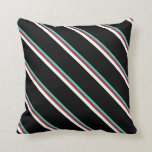 [ Thumbnail: Turquoise, Brown, White, and Black Pattern Pillow ]