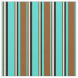 [ Thumbnail: Turquoise, Brown, White, and Black Stripes Fabric ]