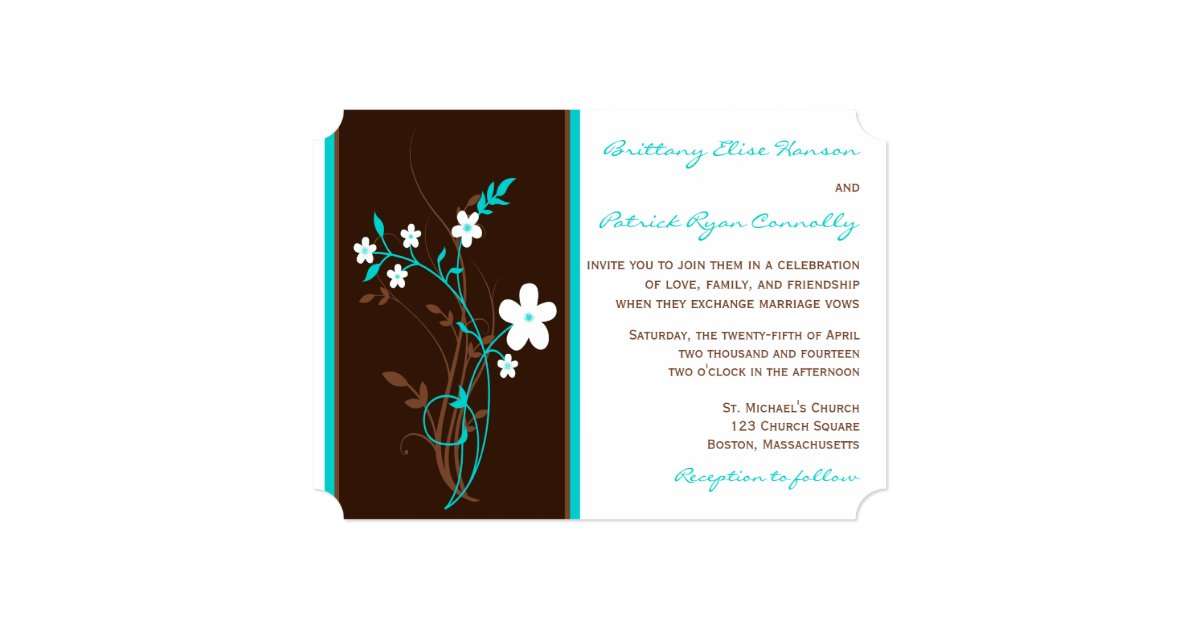 Turquoise And Brown Wedding Invitations: Turquoise, Brown, White Floral Wedding Invitation