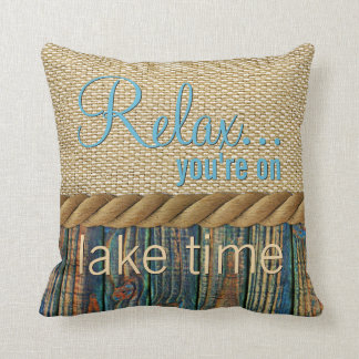 Turquoise Brown Wood Look Faux Burlap Pattern Throw Pillow