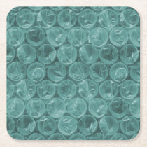 Turquoise bubble wrap pattern square paper coaster
