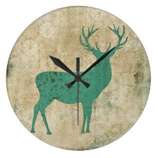 Turquoise Buck Silhouette Clock